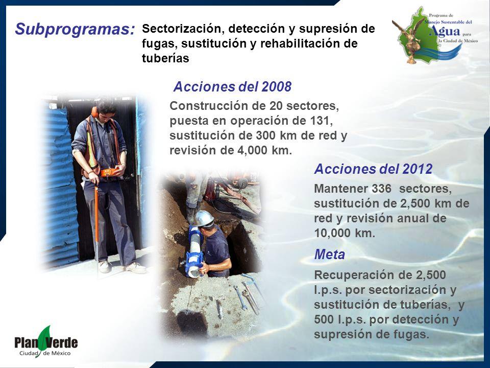 Construcción de 20 sectores, puesta en operación de 131, sustitución de 300 km de red y revisión de 4,000 km.