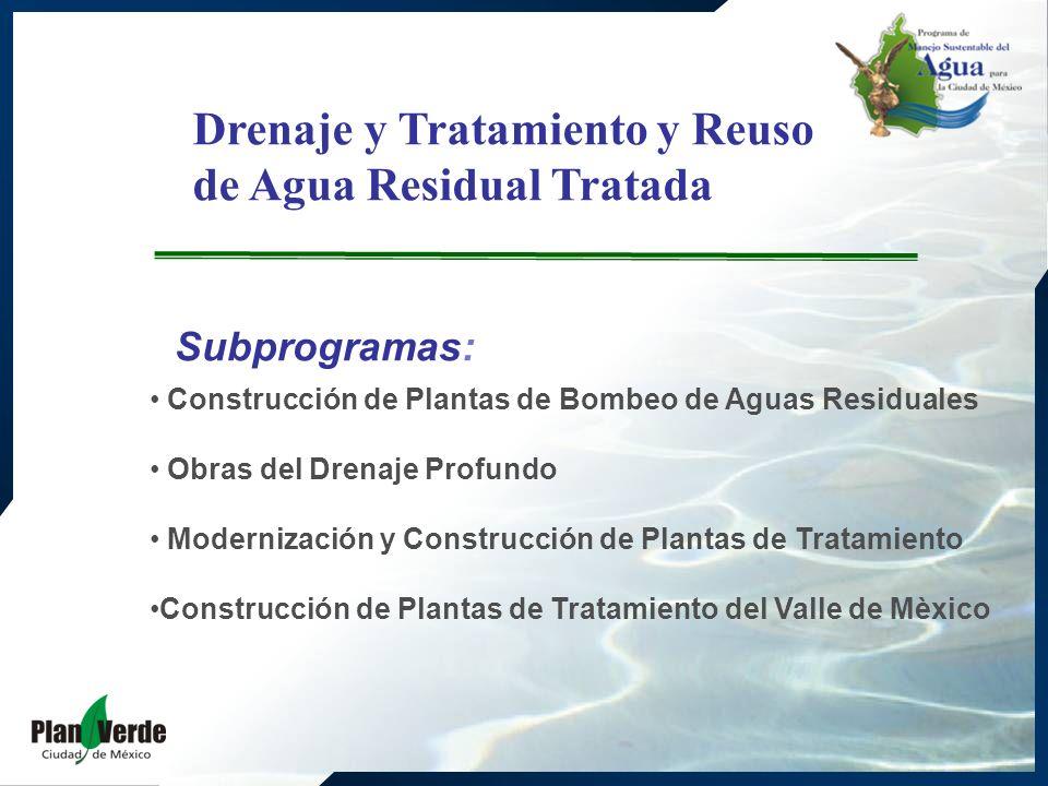 Drenaje y Tratamiento y Reuso de Agua Residual Tratada Subprogramas: Construcción de Plantas de Bombeo de Aguas Residuales Obras del Drenaje Profundo Modernización y Construcción de Plantas de Tratamiento Construcción de Plantas de Tratamiento del Valle de Mèxico