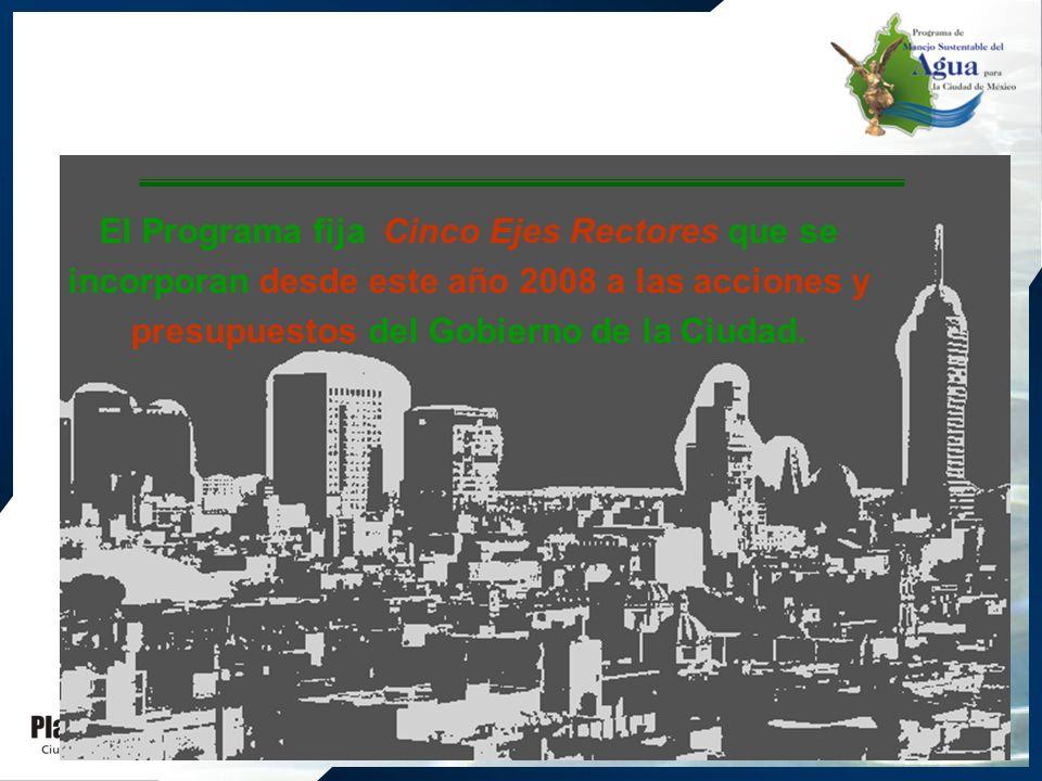 El Programa fija Cinco Ejes Rectores que se incorporan desde este año 2008 a las acciones y presupuestos del Gobierno de la Ciudad.