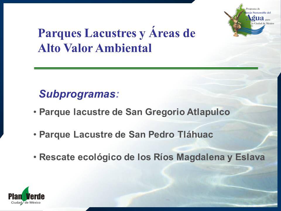 Parques Lacustres y Áreas de Alto Valor Ambiental Subprogramas: Parque lacustre de San Gregorio Atlapulco Parque Lacustre de San Pedro Tláhuac Rescate ecológico de los Ríos Magdalena y Eslava