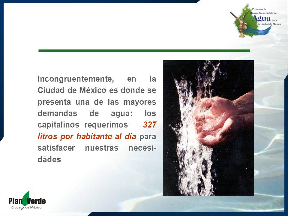 Incongruentemente, en la Ciudad de México es donde se presenta una de las mayores demandas de agua: los capitalinos requerimos 327 litros por habitante al día para satisfacer nuestras necesi- dades