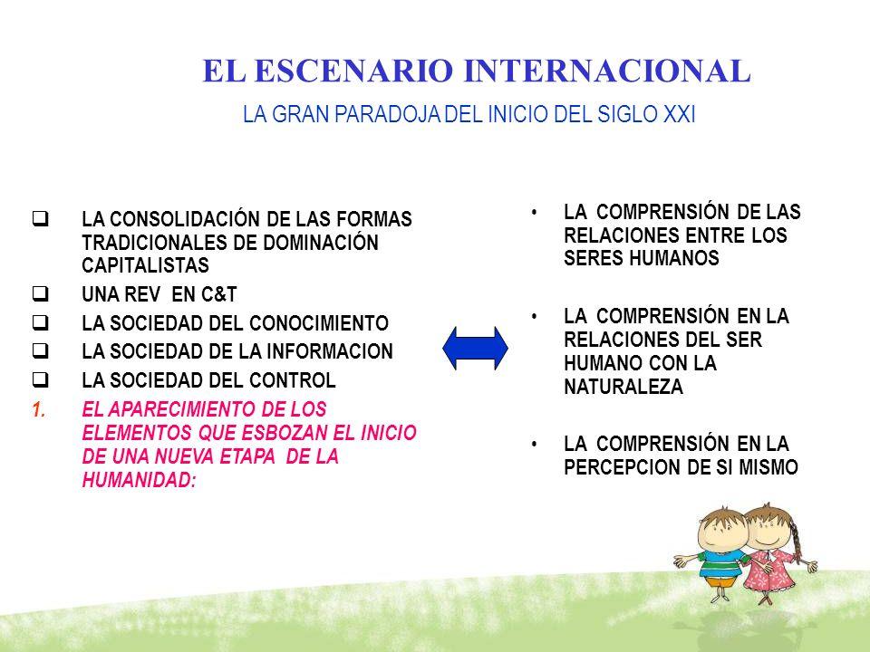 EL ESCENARIO INTERNACIONAL LA CONSOLIDACIÓN DE LAS FORMAS TRADICIONALES DE DOMINACIÓN CAPITALISTAS UNA REV EN C&T LA SOCIEDAD DEL CONOCIMIENTO LA SOCI