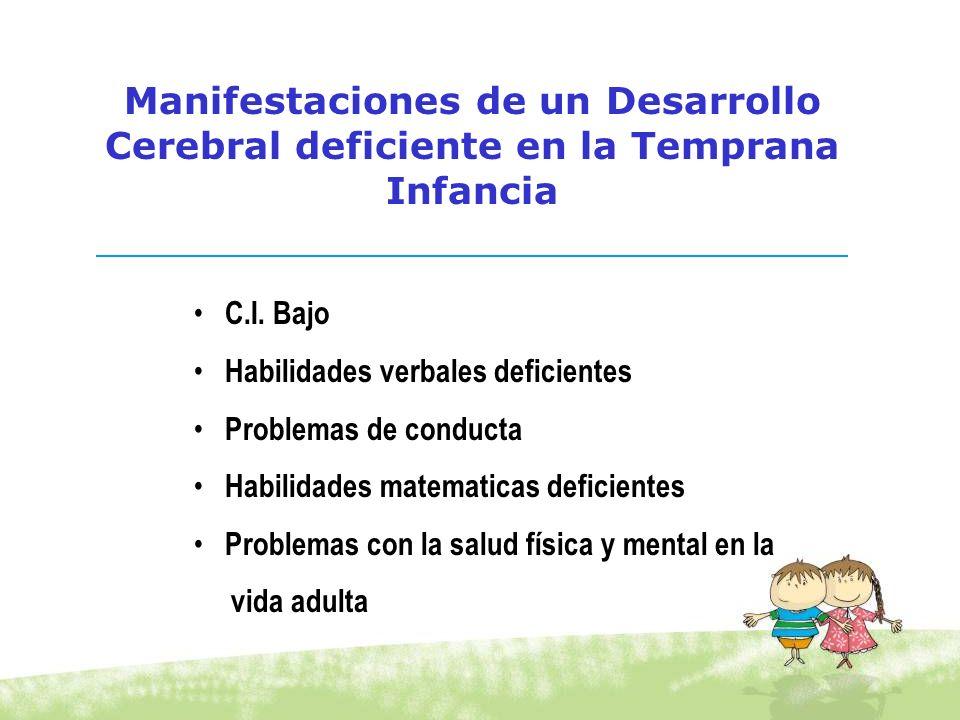 C.I. Bajo Habilidades verbales deficientes Problemas de conducta Habilidades matematicas deficientes Problemas con la salud física y mental en la vida