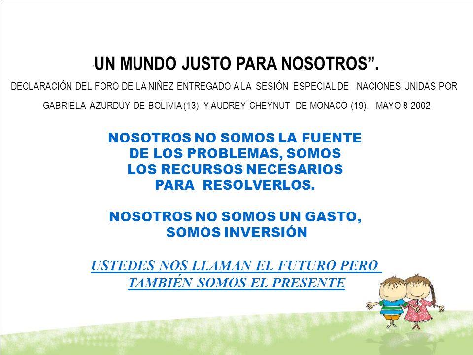 UN MUNDO JUSTO PARA NOSOTROS. DECLARACIÓN DEL FORO DE LA NIÑEZ ENTREGADO A LA SESIÓN ESPECIAL DE NACIONES UNIDAS POR GABRIELA AZURDUY DE BOLIVIA (13)