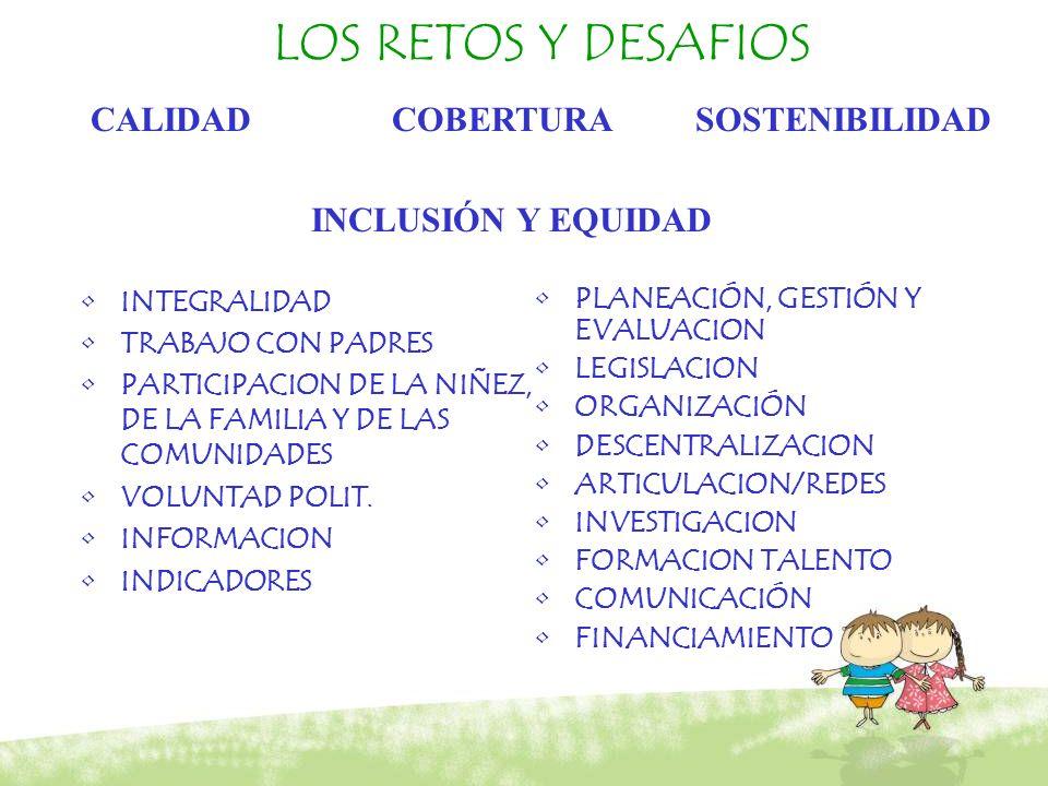 LOS RETOS Y DESAFIOS INTEGRALIDAD TRABAJO CON PADRES PARTICIPACION DE LA NIÑEZ, DE LA FAMILIA Y DE LAS COMUNIDADES VOLUNTAD POLIT. INFORMACION INDICAD