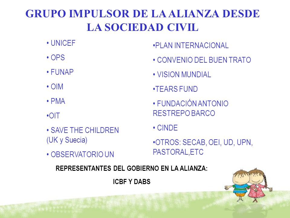 GRUPO IMPULSOR DE LA ALIANZA DESDE LA SOCIEDAD CIVIL UNICEF OPS FUNAP OIM PMA OIT SAVE THE CHILDREN (UK y Suecia) OBSERVATORIO UN PLAN INTERNACIONAL C