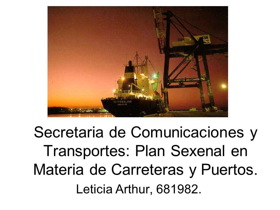 Plan Sexenal de la SCT 2006-2012 Objetivo: Garantizar el acceso y ampliar la cobertura de infraestructura y servicios de transporte y comunicaciones, tanto a nivel nacional como regional, a fin de que los mexicanos puedan comunicarse y trasladarse de manera ágil y oportuna en todo el país y con el mundo, así como hacer más eficiente el transporte de mercancías y las telecomunicaciones hacia el interior y el exterior del país, de manera que estos sectores contribuyan a aprovechar las ventajas comparativas con las que cuenta México.