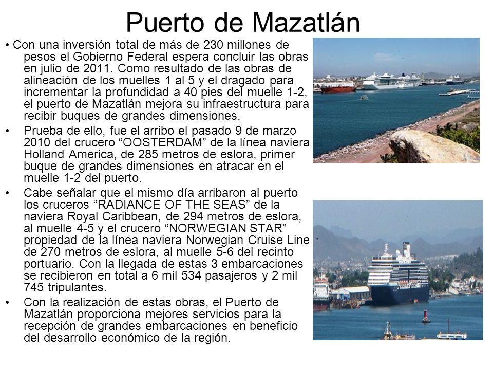 Puerto de Mazatlán Con una inversión total de más de 230 millones de pesos el Gobierno Federal espera concluir las obras en julio de 2011. Como result