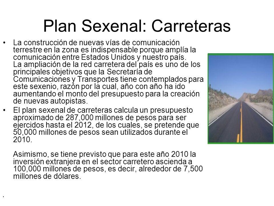 Plan Sexenal: Carreteras La construcción de nuevas vías de comunicación terrestre en la zona es indispensable porque amplía la comunicación entre Esta