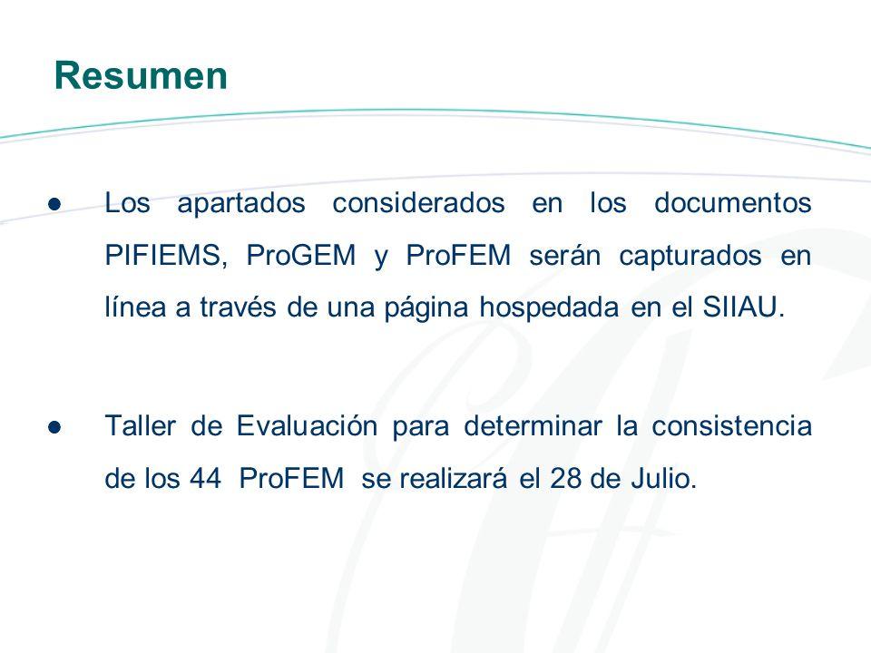 Resumen Los apartados considerados en los documentos PIFIEMS, ProGEM y ProFEM serán capturados en línea a través de una página hospedada en el SIIAU.
