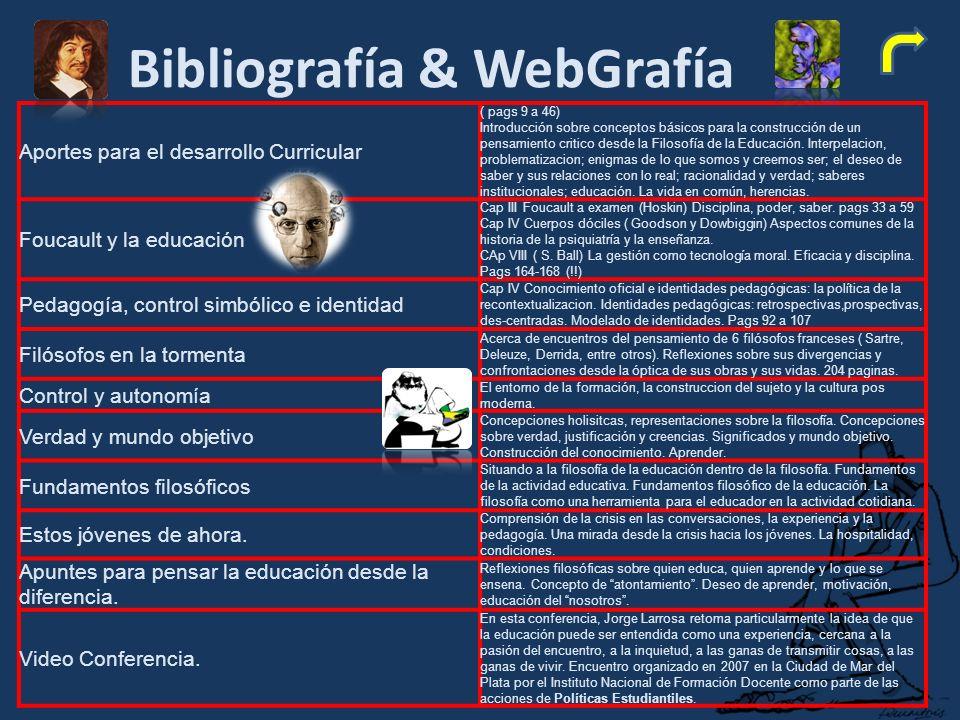 Bibliografía & WebGrafía Aportes para el desarrollo Curricular ( pags 9 a 46) Introducción sobre conceptos básicos para la construcción de un pensamiento critico desde la Filosofía de la Educación.