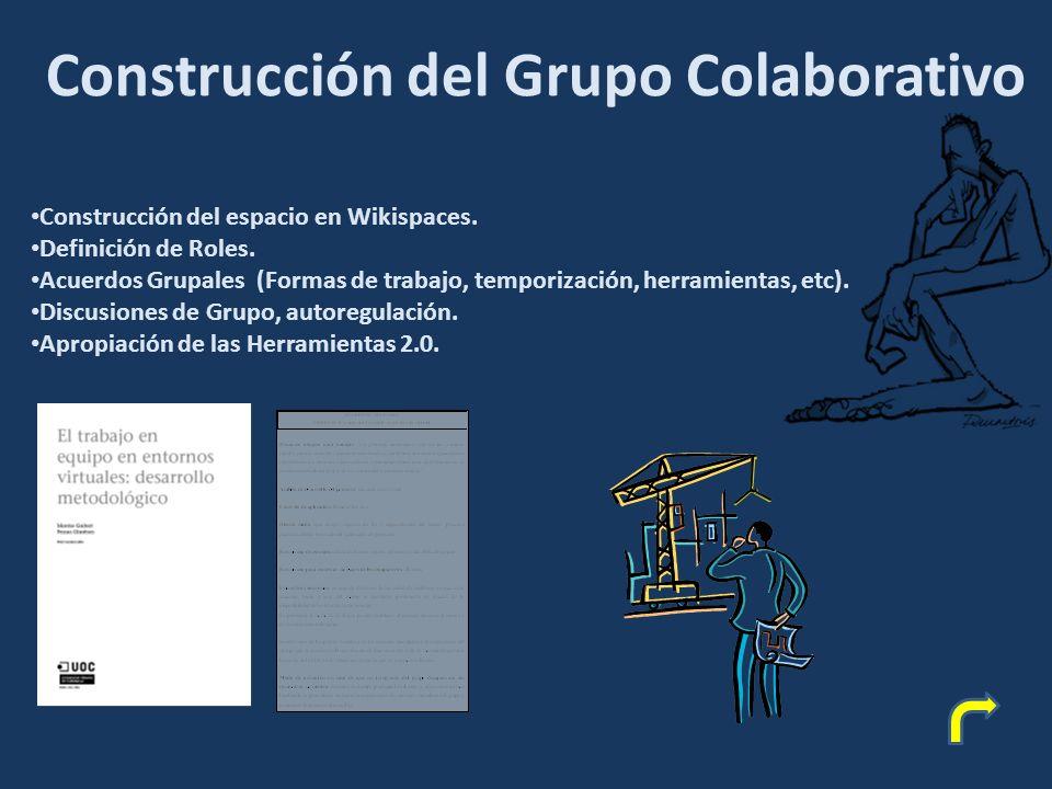 Construcción del Grupo Colaborativo Construcción del espacio en Wikispaces.