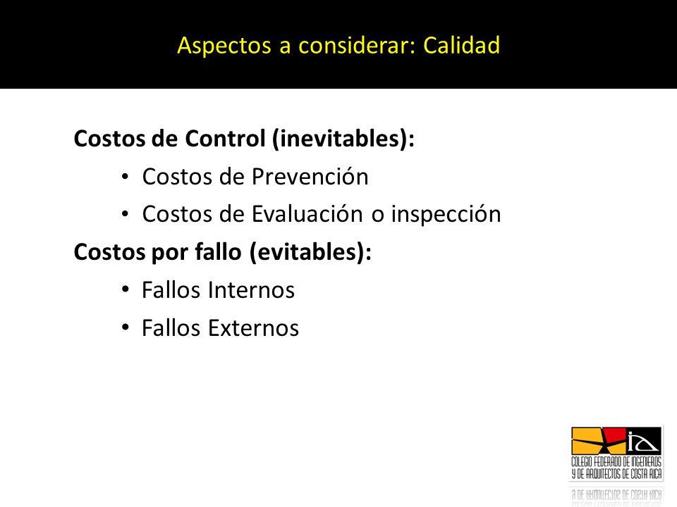 Costos de Control (inevitables): Costos de Prevención Costos de Evaluación o inspección Costos por fallo (evitables): Fallos Internos Fallos Externos