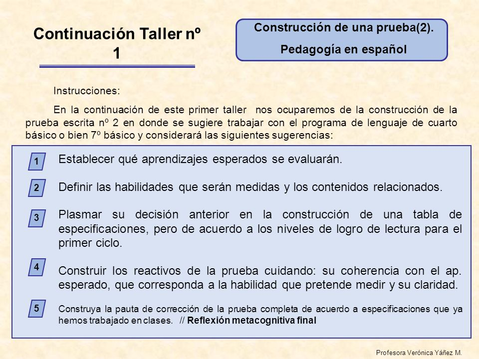 Profesora Verónica Yáñez M. Establecer qué aprendizajes esperados se evaluarán.