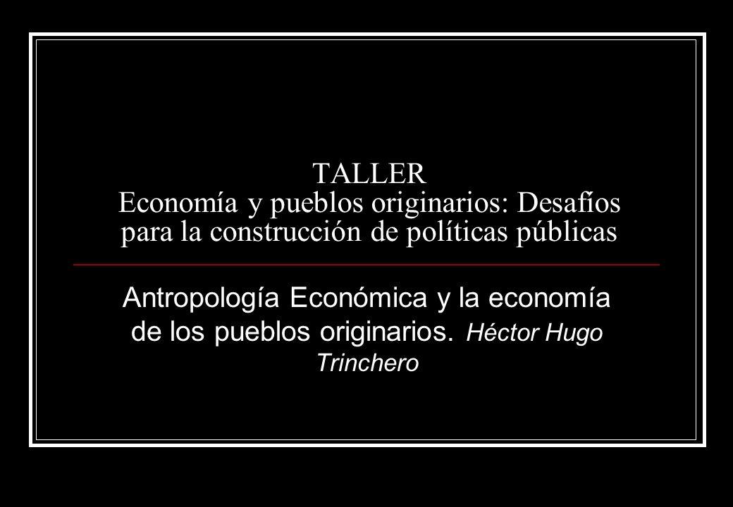 TALLER Economía y pueblos originarios: Desafíos para la construcción de políticas públicas Antropología Económica y la economía de los pueblos originarios.