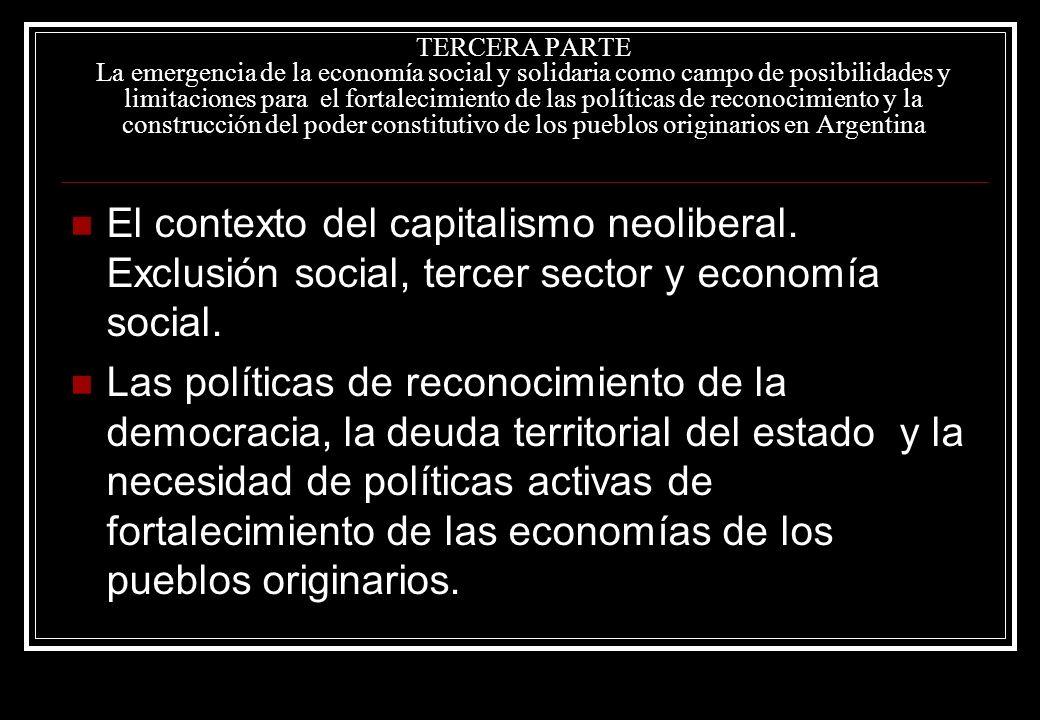 TERCERA PARTE La emergencia de la economía social y solidaria como campo de posibilidades y limitaciones para el fortalecimiento de las políticas de reconocimiento y la construcción del poder constitutivo de los pueblos originarios en Argentina El contexto del capitalismo neoliberal.