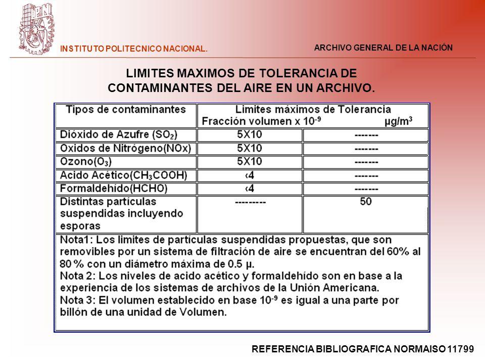 ARCHIVO GENERAL DE LA NACIÓN INSTITUTO POLITECNICO NACIONAL. LIMITES MAXIMOS DE TOLERANCIA DE CONTAMINANTES DEL AIRE EN UN ARCHIVO. REFERENCIA BIBLIOG