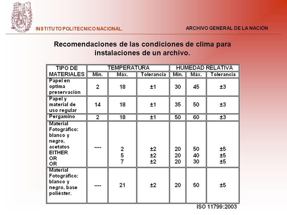 ARCHIVO GENERAL DE LA NACIÓN INSTITUTO POLITECNICO NACIONAL. Recomendaciones de las condiciones de clima para instalaciones de un archivo.