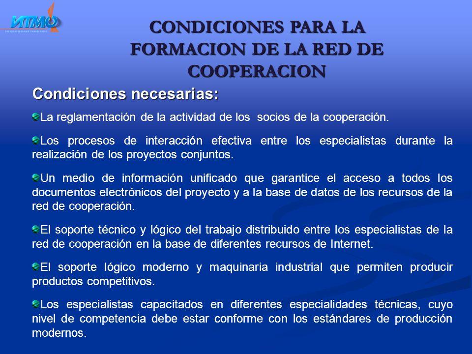 CONDICIONES PARA LA FORMACION DE LA RED DE COOPERACION Condiciones necesarias: La reglamentación de la actividad de los socios de la cooperación.