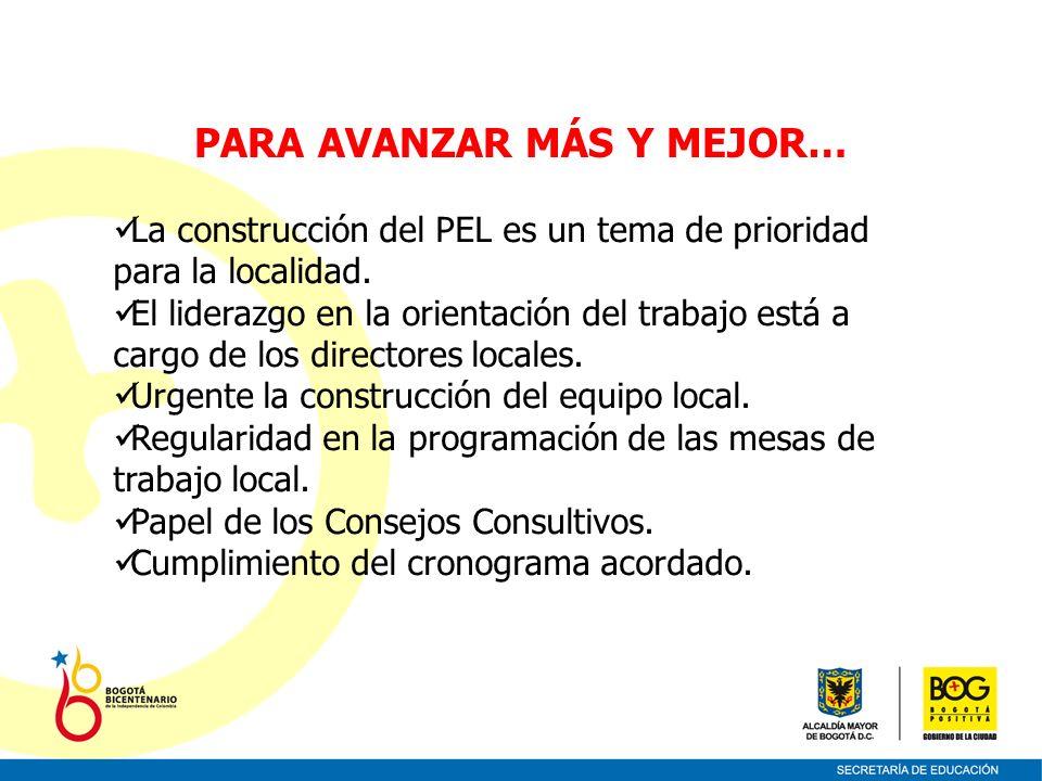 La construcción del PEL es un tema de prioridad para la localidad. El liderazgo en la orientación del trabajo está a cargo de los directores locales.
