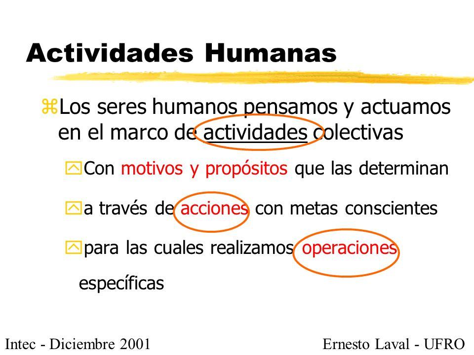 Intec - Diciembre 2001Ernesto Laval - UFRO Actividades Humanas zLos seres humanos pensamos y actuamos en el marco de actividades colectivas yCon motivos y propósitos que las determinan ya través de acciones con metas conscientes ypara las cuales realizamos operaciones específicas