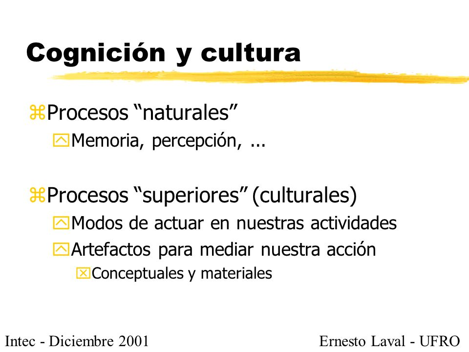 Intec - Diciembre 2001Ernesto Laval - UFRO Cognición y cultura zProcesos naturales yMemoria, percepción,... zProcesos superiores (culturales) yModos d