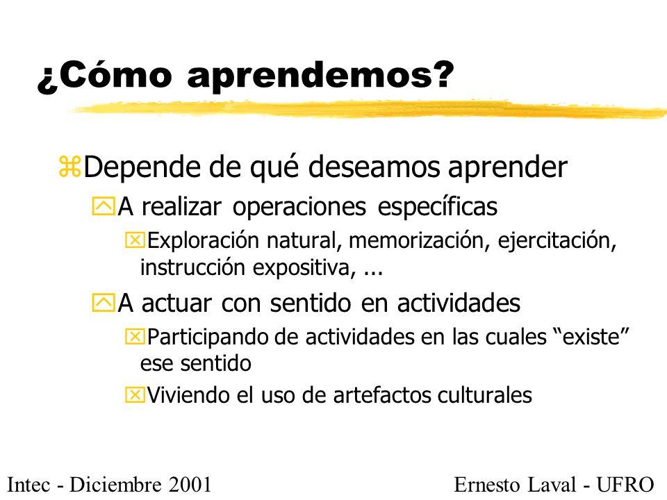 Intec - Diciembre 2001Ernesto Laval - UFRO ¿Cómo aprendemos? zDepende de qué deseamos aprender yA realizar operaciones específicas xExploración natura