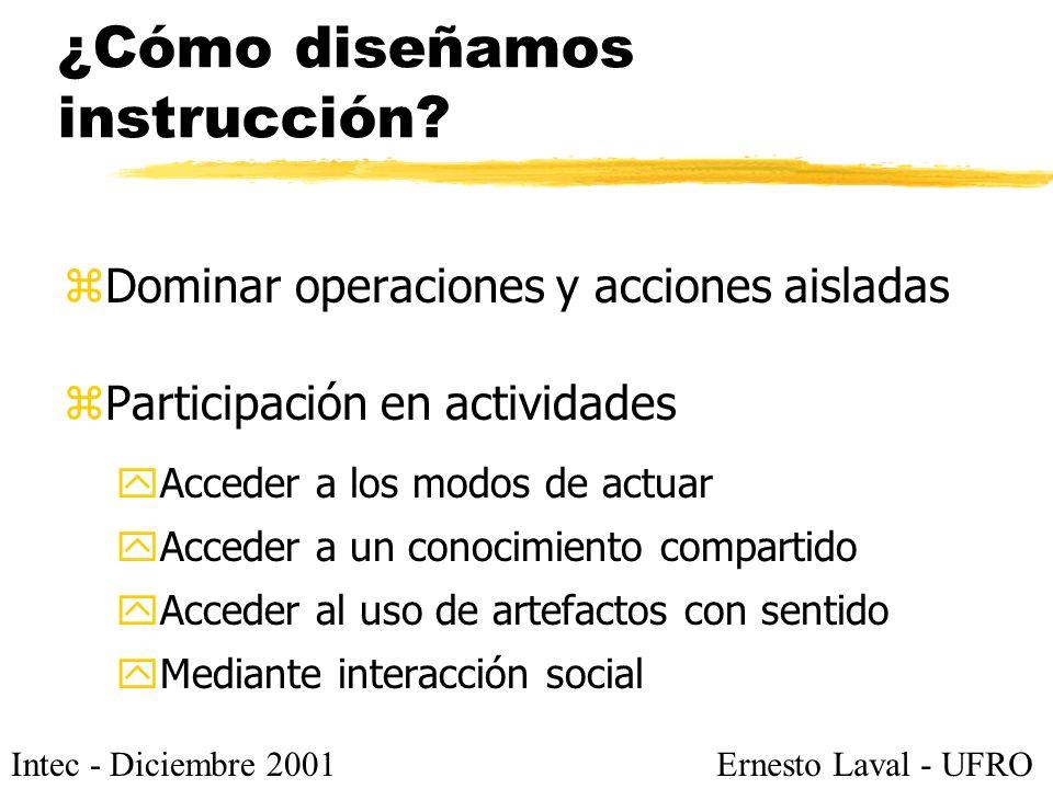 Intec - Diciembre 2001Ernesto Laval - UFRO ¿Cómo diseñamos instrucción? zDominar operaciones y acciones aisladas zParticipación en actividades yAccede