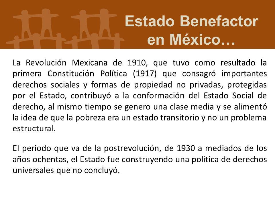 La Revolución Mexicana de 1910, que tuvo como resultado la primera Constitución Política (1917) que consagró importantes derechos sociales y formas de