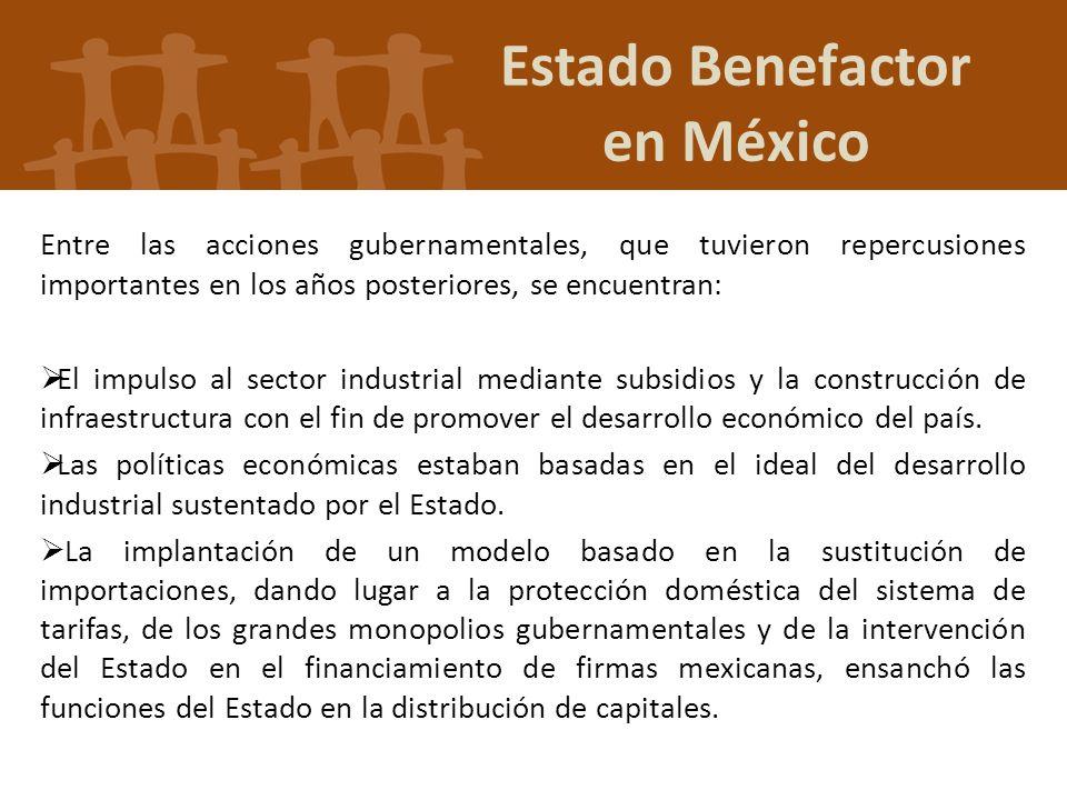 Entre las acciones gubernamentales, que tuvieron repercusiones importantes en los años posteriores, se encuentran: El impulso al sector industrial med