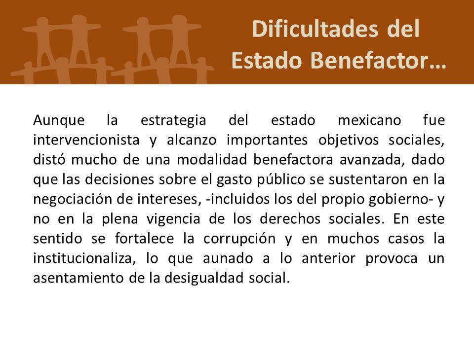Aunque la estrategia del estado mexicano fue intervencionista y alcanzo importantes objetivos sociales, distó mucho de una modalidad benefactora avanz