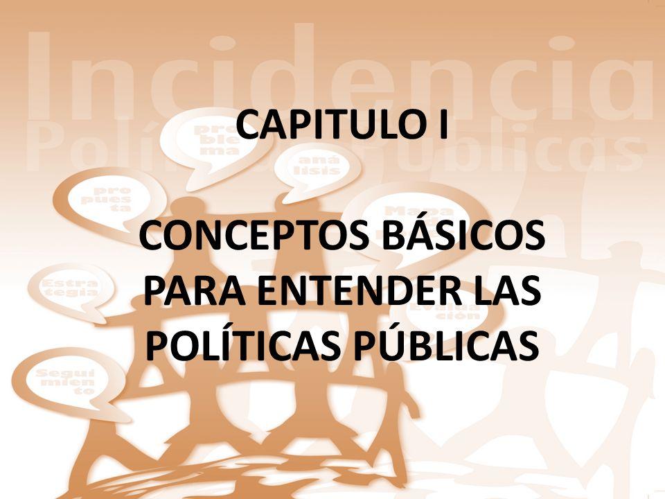 CAPITULO I CONCEPTOS BÁSICOS PARA ENTENDER LAS POLÍTICAS PÚBLICAS