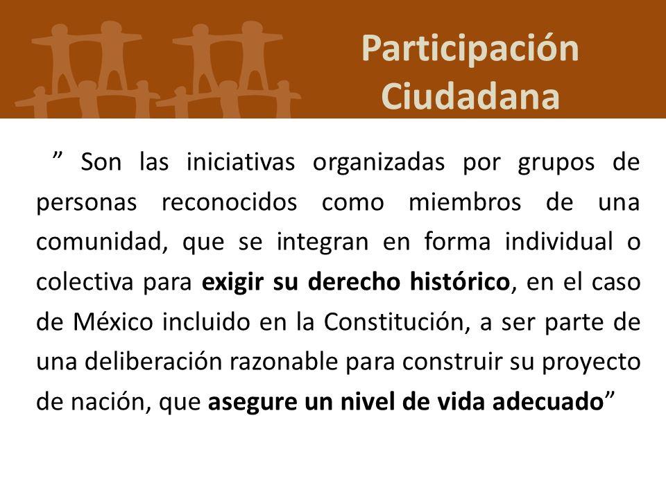 Participación Ciudadana Son las iniciativas organizadas por grupos de personas reconocidos como miembros de una comunidad, que se integran en forma in