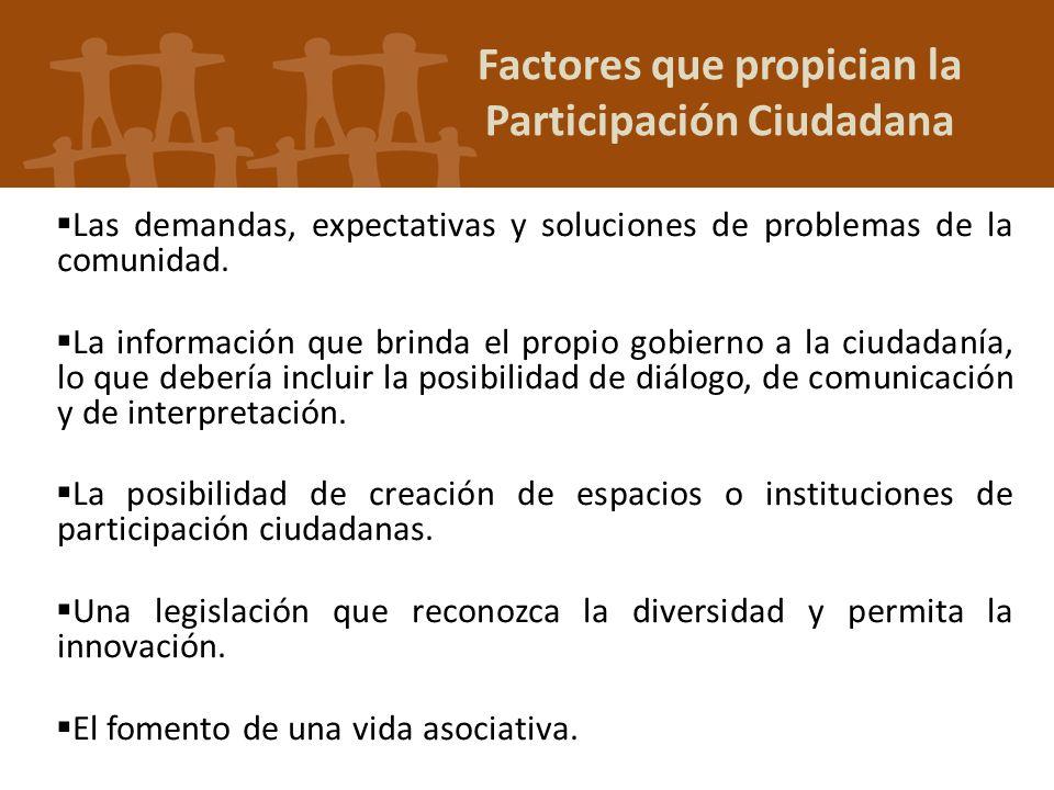 Factores que propician la Participación Ciudadana Las demandas, expectativas y soluciones de problemas de la comunidad. La información que brinda el p