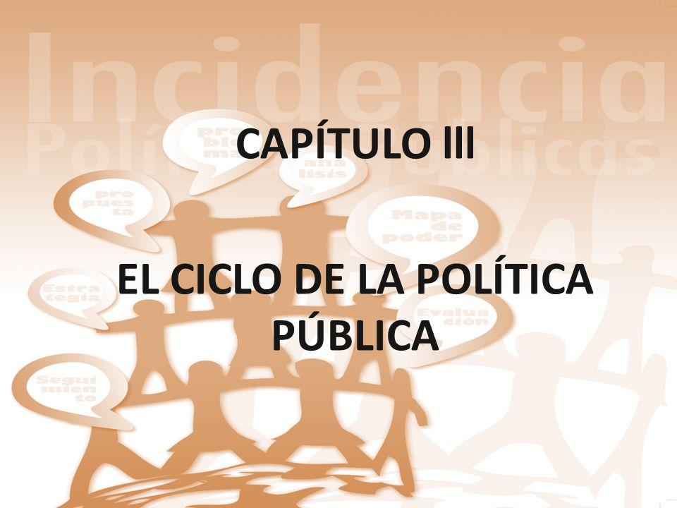 CAPÍTULO lll EL CICLO DE LA POLÍTICA PÚBLICA