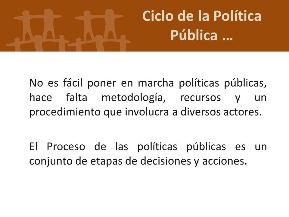 No es fácil poner en marcha políticas públicas, hace falta metodología, recursos y un procedimiento que involucra a diversos actores. El Proceso de la