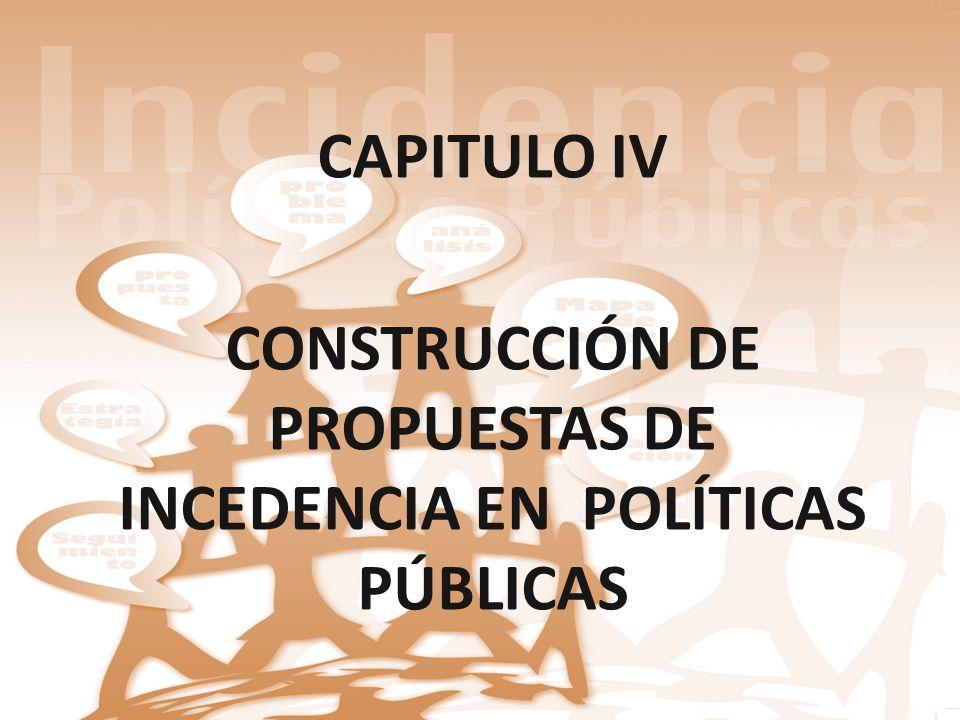 CAPITULO IV CONSTRUCCIÓN DE PROPUESTAS DE INCEDENCIA EN POLÍTICAS PÚBLICAS