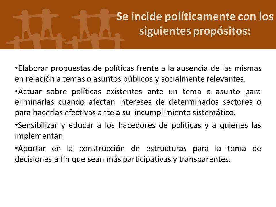 Se incide políticamente con los siguientes propósitos: Elaborar propuestas de políticas frente a la ausencia de las mismas en relación a temas o asunt