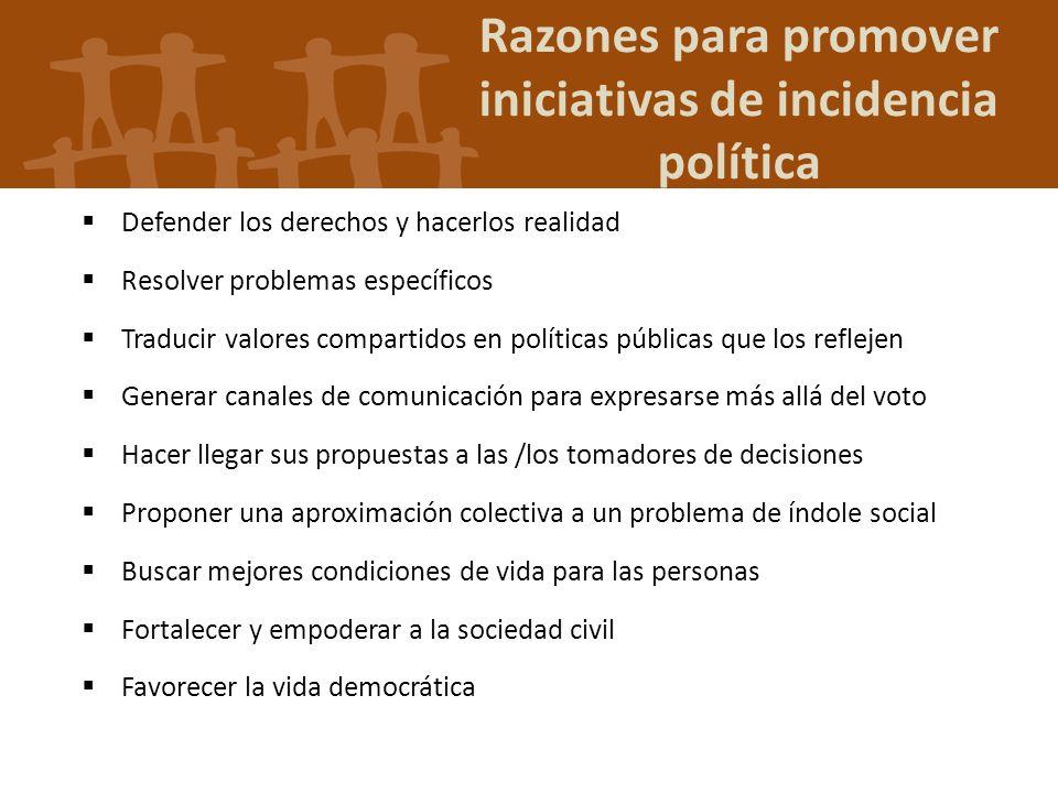 Razones para promover iniciativas de incidencia política Defender los derechos y hacerlos realidad Resolver problemas específicos Traducir valores com