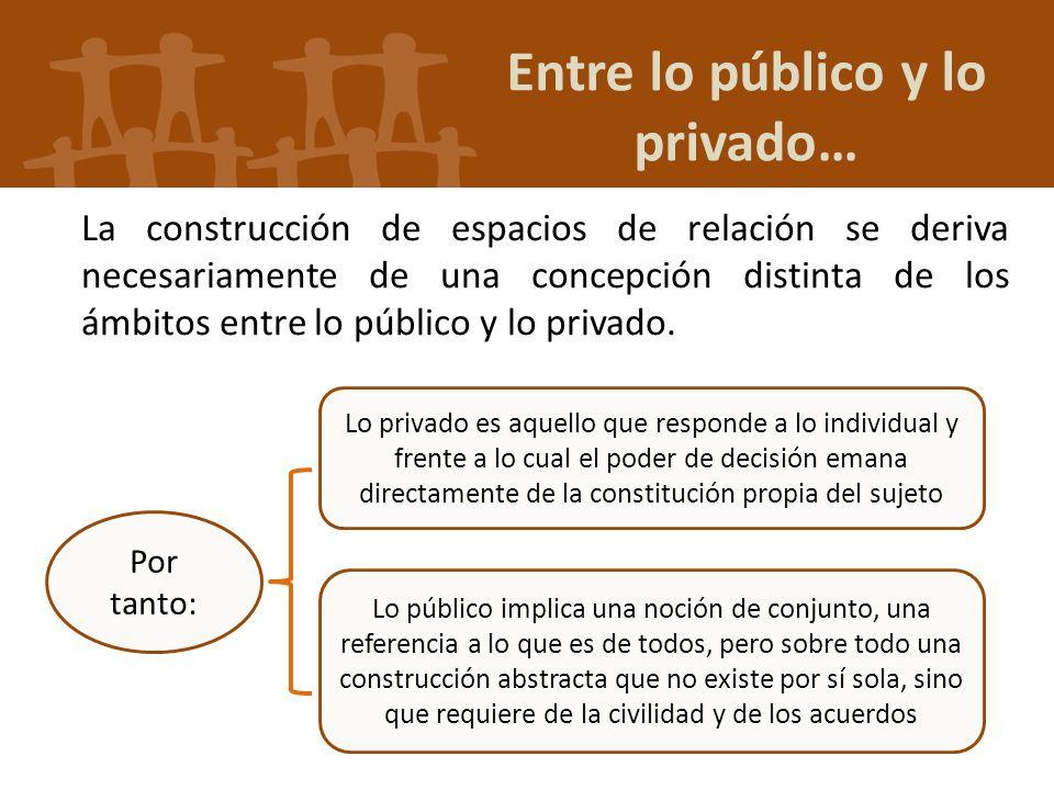 Entre lo público y lo privado… La construcción de espacios de relación se deriva necesariamente de una concepción distinta de los ámbitos entre lo púb
