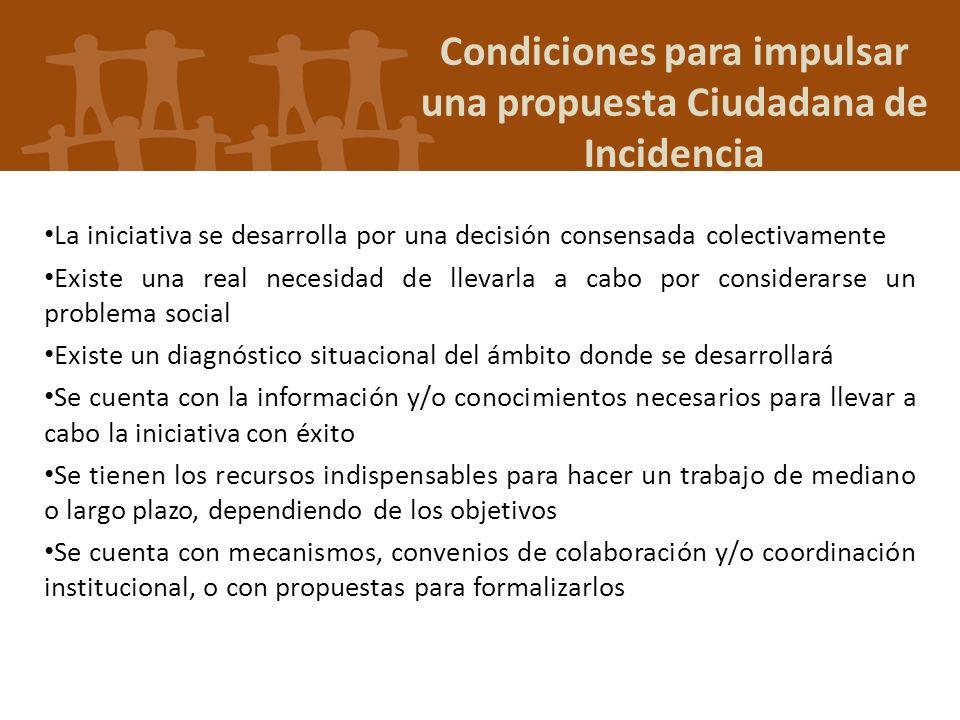 Condiciones para impulsar una propuesta Ciudadana de Incidencia La iniciativa se desarrolla por una decisión consensada colectivamente Existe una real