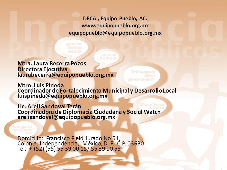 DECA, Equipo Pueblo, AC. www.equipopueblo.org.mx equipopueblo@equipopueblo.org.mx Mtra. Laura Becerra Pozos Directora Ejecutiva laurabecerra@equipopue