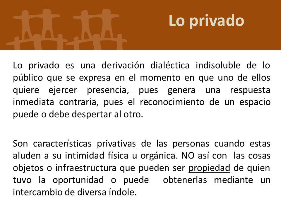 Lo privado Lo privado es una derivación dialéctica indisoluble de lo público que se expresa en el momento en que uno de ellos quiere ejercer presencia