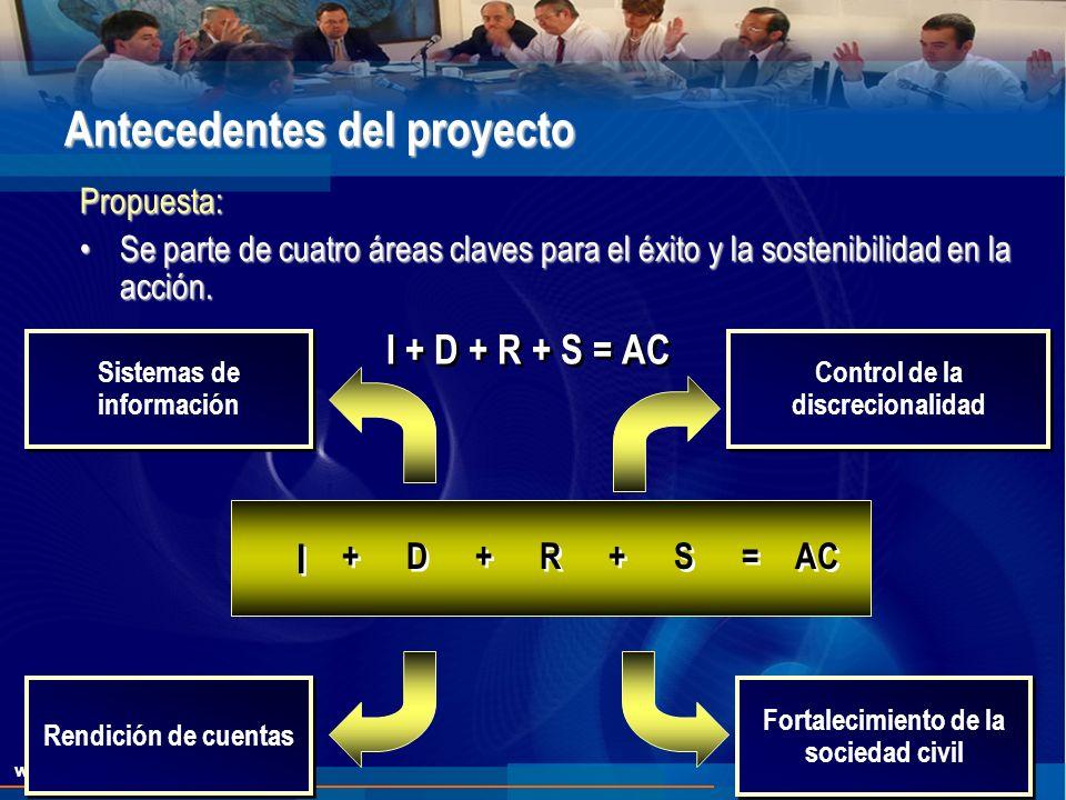 Antecedentes del proyecto Propuesta: Se parte de cuatro áreas claves para el éxito y la sostenibilidad en la acción.Se parte de cuatro áreas claves para el éxito y la sostenibilidad en la acción.