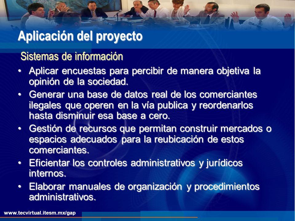 www.tecvirtual.itesm.mx/gap Aplicación del proyecto Aplicar encuestas para percibir de manera objetiva la opinión de la sociedad.Aplicar encuestas para percibir de manera objetiva la opinión de la sociedad.