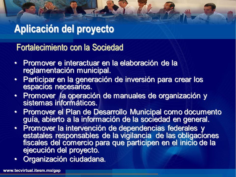 www.tecvirtual.itesm.mx/gap Aplicación del proyecto Promover e interactuar en la elaboración de la reglamentación municipal.Promover e interactuar en la elaboración de la reglamentación municipal.