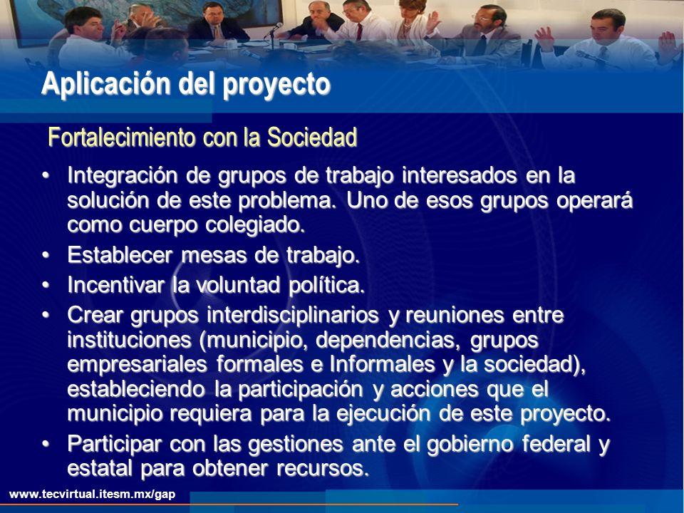 www.tecvirtual.itesm.mx/gap Aplicación del proyecto Integración de grupos de trabajo interesados en la solución de este problema.