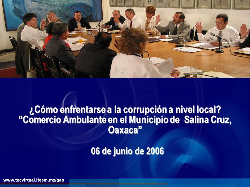 www.tecvirtual.itesm.mx/gap ¿Cómo enfrentarse a la corrupción a nivel local.