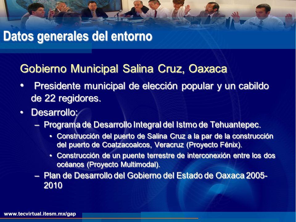 www.tecvirtual.itesm.mx/gap Datos generales del entorno Gobierno Municipal Salina Cruz, Oaxaca Presidente municipal de elección popular y un cabildo de 22 regidores.