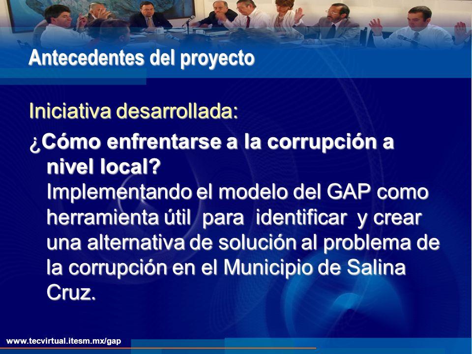 Antecedentes del proyecto Iniciativa desarrollada: ¿Cómo enfrentarse a la corrupción a nivel local.